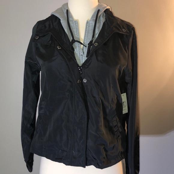 No Boundaries Jackets & Blazers - Black Windbreaker Jacket with Gray Hood